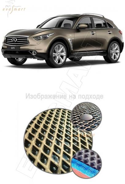 Infiniti QX70 2014 -2015 Автоковрики 'EVA Smart' Комплект в салон, цвет коричневый, цвет канта черный