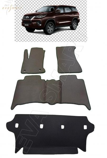 Toyota Fortuner II кроссовер 7 мест 2015 - н.в. коврики EVA Smart