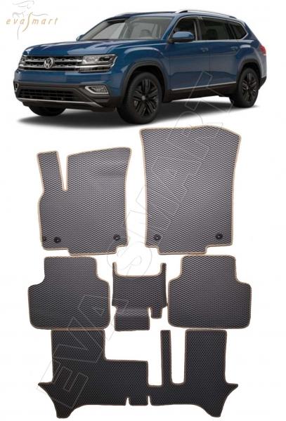 Volkswagen Teramont I 7мест 2017 - н.в. коврики EVA Smart