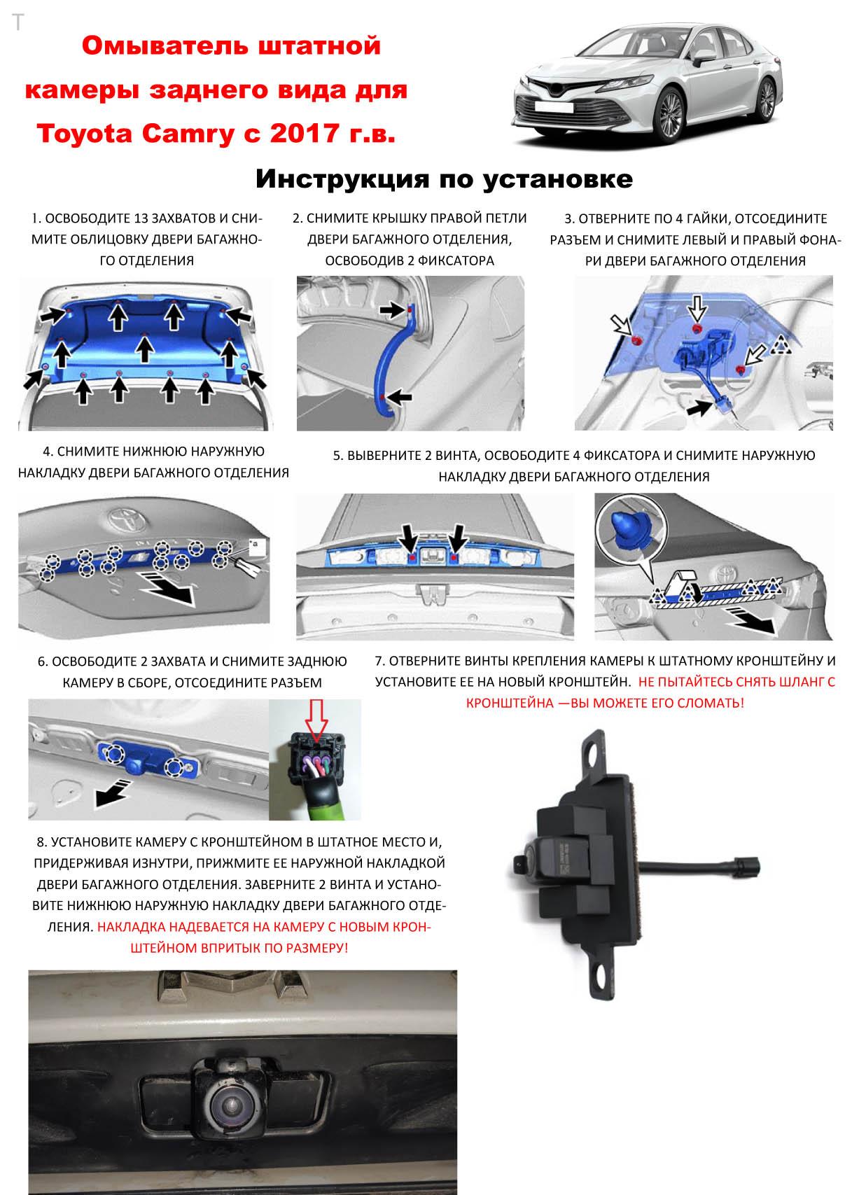 Инструкция к омыватель камеры заднего вида Camry70