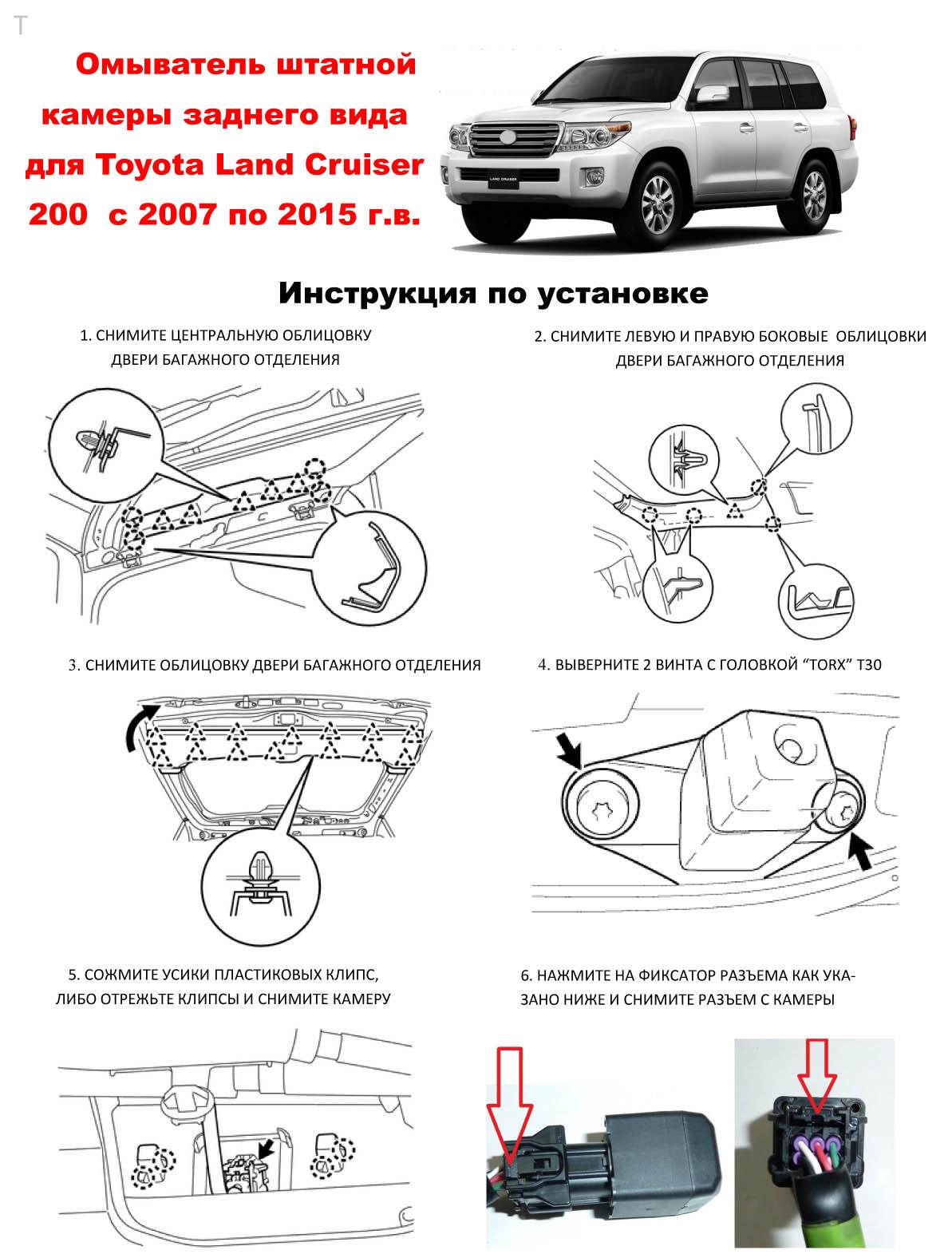 Инструкция по установке омывателя камеры заднего вида Toyota Land Cruiser 200